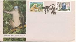 India FDC Indore 1-10-1983 Indian Wild Life With Cachet - FDC