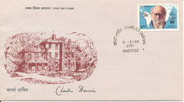 India FDC Indore 18-5-1983 Charles Darwin With Cachet - FDC