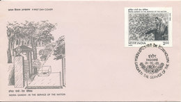 India FDC Indore 31-10-1985 Indira Gandhi In The Service Of The Nation With Cachet - FDC