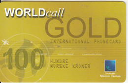 NORWAY - World Call Gold, Gnanam Telecom Centers Prepaid Card NOK 100, Exp.date 31/12/03, Used - Norway