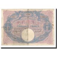 France, 50 Francs, 1907-06-5, KM:64d, TB, Fayette:14.19 - 50 F 1889-1927 ''Bleu Et Rose''