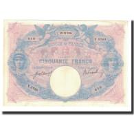 France, 50 Francs, 1914-12-15, KM:64e, TTB+, Fayette:14.27 - 50 F 1889-1927 ''Bleu Et Rose''