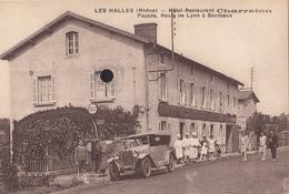 LES HALLES - Hôtel-Restaurant CHARRETON  Façade , Route De Lyon à Bordeaux. - Otros Municipios