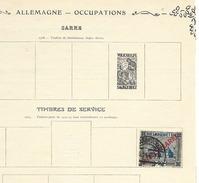 SARRE FRANCAISE 1 Timbre De Service 1924 Oblitéré Sur Charnière à Décoller Sur Pages Album Ancien - Autres