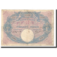 France, 50 Francs, 1905-10-18, KM:64c, TB, Fayette:14.17 - 50 F 1889-1927 ''Bleu Et Rose''