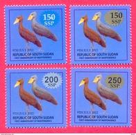 SOUTH SUDAN Surcharged Overprints On 1 SSP Birds Of The 2nd Set SOUDAN Du Sud Südsudan - South Sudan