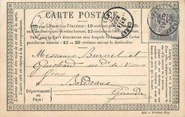 CARTE PRÉCURSEUR - Sage 15c,carte Envoyée De Crest Vers Bordeaux. - Marcophilie (Lettres)