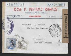 Espagne - Enveloppe De Villarreal  Avec Marques De Censure - Marcas De Censura Nacional