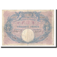 France, 50 Francs, 1906-04-25, KM:64d, TB+, Fayette:14.18 - 50 F 1889-1927 ''Bleu Et Rose''