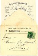 HERAULT ENV OUVERTE 1884 BEDARIEUX TARIF FACTURE ENVELOPPE OUVERTE AVEC LA FACTURE A ENTETE DENREES COLONIALES HUILES PE - Postmark Collection (Covers)