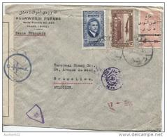 Rep.Syrienne TP 246A-293-TPA 84 C.Damas 21/3/1945 V.BXL Censure Croix De Lorraine+égyptienne PR848 - Syrie