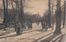 NECUCHATEL → Promenade Du Jardin Anglais Mit Vielen Pssanten, Kupferdruck Ca.1910 - NE Neuenburg