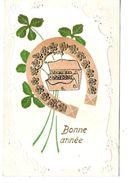 Carte Gaufrée Au Fer à Cheval Et Trèfle 4 Feuilles Origine Suisse Carouge 1906 - Autres