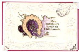 Carte Gaufrée Au Fer à Cheval Et Trèfle 4 Feuilles Origine Suisse Carouge 1904 - Autres