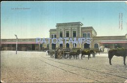 84074 PARAGUAY ASUNCION LA ADUANA CENTRAL RAILROAD & CART A HORSE POSTAL POSTCARD - Paraguay
