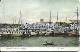 84084 PARAGUAY ASUNCION EL PUERTO PORT & SHIP VISTA PARCIAL POSTAL POSTCARD - Paraguay