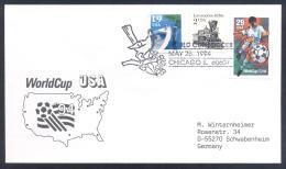 USA 1994 Cover: Football Soccer Fussball Calcio; FIFA WM World Cup Mudial; Chicago Cancellation; Bird Vogel Flowers - World Cup