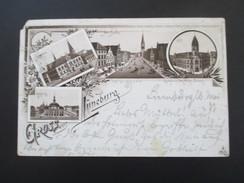 AK / Mehrbildkarte 1903 Gruss Aus Lüneburg. Rathhaus / Am Sande / Post / Museum. Nach Apolda - Gruss Aus.../ Grüsse Aus...