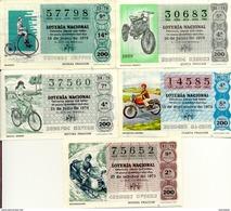 "Classe Ouverte "" Bicyclettes "", (Loteria Nacional De España) 5 Differents - Motorbikes"