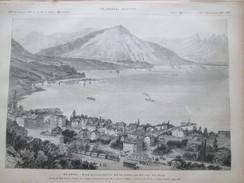 2 Gravure 1887  SUISSE Vue D Ensemble   De La Ville De ZOUG ZUG   Du Lac De Zug Catastrophe - ZG Zoug