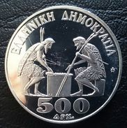 """GREECE 500 DRACHMAS 1988 SILVER PROOF """"28th Chess Olympics"""" Free Shipping Via Registered Air Mail - Griechenland"""