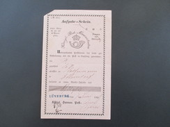 AD Hannover 1858 Königl. Hannov. Post-Amt. Aufgabeschein.Administration. Stempel: L1 Lüneburg. Toller Beleg! - Hamburg