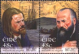 IRELAND STAMPS, SETENANT PAIR, 2007, FLIGHT OF THE EARLS, MNH - Unused Stamps