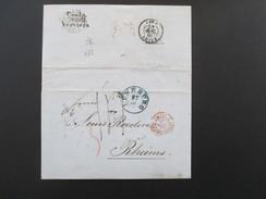 AD Hannover 1861 Blauer K1 Lüneburg Nach Rheims Frankreich. Bahnpost. Coeln 28 10 III Verviers. Prusse Par Valenciennes - Hamburg (Amburgo)