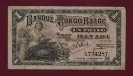 BELGIAN Congo 1 FRANC 1920 P-3B FINE RARE - BELGIUM - [ 5] Belgian Congo
