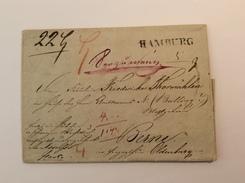HAMBURG 1838 Seltener UNTERFRANKIERTER  PAKETBEGLEITBRIEF> Berne Oldenburg (Altdeutschland Vorphilatelie PBB Brief - Hambourg