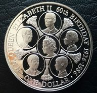 """COOK ISLANDS 1 DOLLAR 1986 SILVER PROOF """"60th Birthday Of Queen Elizabeth II"""" (free Shipping Via Registered Air Mail) - Cook Islands"""