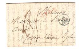 LAC Incomplète De Paris Griffe Rouge C.F.3.R Port 35 15/5/1829 Pour Fontaine L'Evêque PR5038 - 1801-1848: Precursores XIX