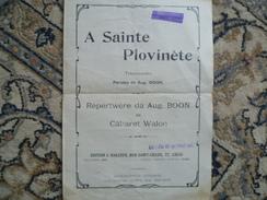 """LIEGE CABARET  WALLON 1900 """"A SAINTE PLOVINETE"""" Aug BOON - Partitions Musicales Anciennes"""