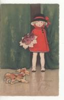 Illustrateur - NS - Chien - Bonne Fete - Jeune Fille Avec Un Bouquet De Roses - Dogs