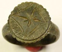 786--Crusaders Holy Land Ring With Star Of Bethlehem - 1100-1300 DC--19 Mm Inner Diameter - Archaeology