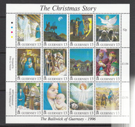 Guernsey Set Of 14, Christmas Miniature Sheet + 2values- 1996 Unmounted Mint NHM - Guernsey