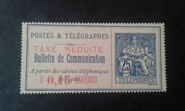 TIMBRE  TELEPHONE   1897    Bulletin De Communication    Surchargé Rouge     TAXE REDUITE    0,15 Cts - Telegraphie Und Telefon