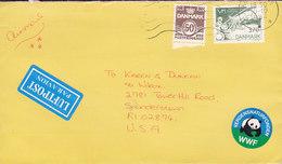Denmark LUFTPOST Par Avion Label KERTEMINDE 1984 Cover Brief To USA PATSY DUCH Cachet WWF Vignette Cz. Slania Stamp - Briefe U. Dokumente