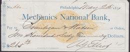 United States MECANICS NATIONAL BANK Cheque Philadelphia 1871 (2 Scans) - Schecks  Und Reiseschecks