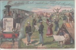 VENDO N.1 CARTOLINA MILITARE,ARRIVO DEI MILITARI AL CAMPO,FORMATO PICCOLO VIAGGIATA NEL 1902 CIRCA CON FRANCOBOLLO - Guerra 1914-18