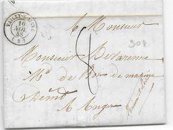 """AISNE - 1848 - LETTRE De CONDE BOITE RURALE """"B"""" + T15 De VAILLY => ANGERS - 1801-1848: Precursori XIX"""