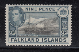 Falkland Islands 1938 MH Scott #90 9p R.R.S. William Scoresby George VI - Falkland