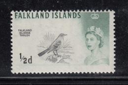 Falkland Islands 1960 MNH Scott #128 1/2p Falkland Islands Thrush Elizabeth II - Falkland
