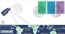 Surinam Suriname 1971 Paramaribo Telecommunication Telex Telegraph Telephone Satellite FDC Cover - Suriname