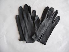 Paire De Gants Ancienne En Peau, Couleur : Noir. - Autres