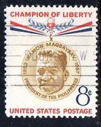 STATI UNITI 1957 , Yvert N.  633  (Un. 887)  Usato . Magsaysay - Gebruikt