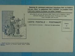 Alcoolisme Anti-alcoolique Carte Illustrée Tandis Qu'il Boit, La Pauvre Mère... - Santé