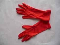 Paire De Gants Ancienne - Très Fins Et Longs -  Couleur : Rouge - Autres