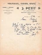 1914 - MARCIGNY (71) - VOLAILLES, GIBIERS & ŒUFS - Maison J. PETIT - Historical Documents