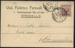 """1923-Pavia Cartolina Con Intestazione Pubblicitaria """"Faravelli-commissionari Vini Ed Uve-Stradella """"affrancata 10c.su 2c - Pavia"""